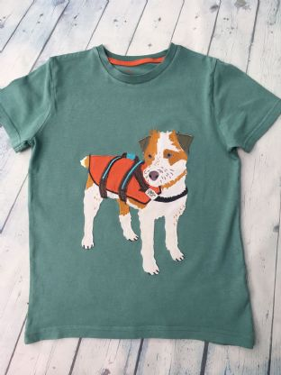 Mini Boden teal blue tshirt with applique Sprout the dog age 9-10